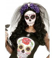 Coiffe Dia de Los Muertos avec Fleurs et Voile