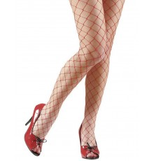 Collants résilles rouges femme