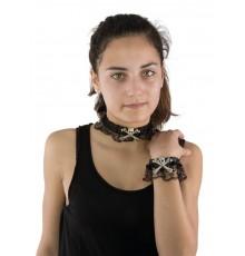 Collier et bracelet dentelle avec tête de mort et os Halloween