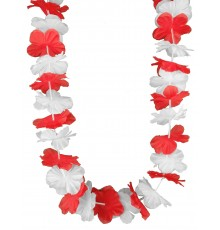 Collier hawaï supporter rouge et blanc adulte