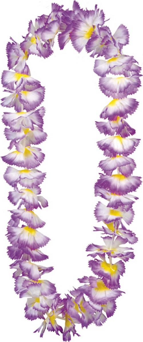 Collier Hawaï violet et blanc