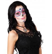 Collier métal squelettte femme Dia de los muertos
