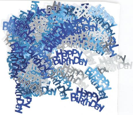 Confettis bleu/gris Happy Birthday
