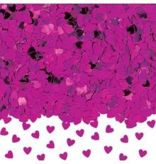 Confettis coeurs métallisés rose foncé