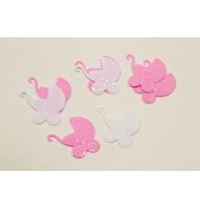 Confettis de table plastique landau bébé rose 10 gr