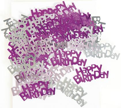 Confettis rose/gris Happy Birthday