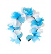 Couronne de fleurs bleu et blanche