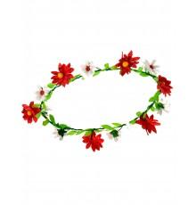 Couronne de fleurs pâquerettes rouges adulte