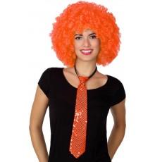 Cravate à sequins orange adulte