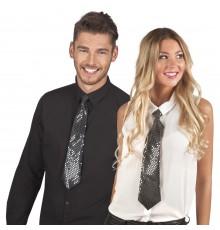 Cravate noire avec sequins transparents adulte