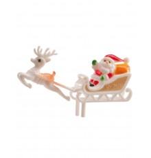 Décoration de gâteau Père Noël et son traîneau 6 cm