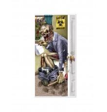 Décoration de porte zombie aux toilettes 76 x 152 cm