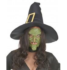 Demi masque latex nez et menton sorcière verte adulte