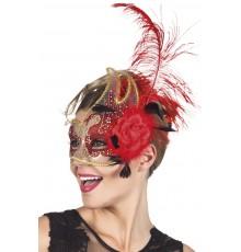 Demi masque vénitien transparent et rouge adulte