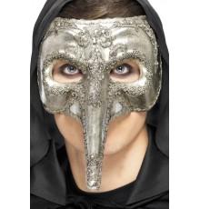 Demi-masque vénitien long nez argenté adulte