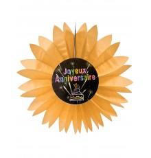 Eventail papier joyeux anniversaire Feux d'artifice orange 50 cm