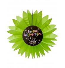 Eventail papier joyeux anniversaire Feux d'artifice vert 50 cm