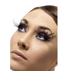 Faux cils courts noirs avec longues plumes noires adulte