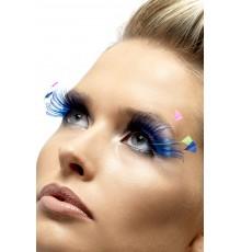 Faux cils longs bleus avec plumes fluo adulte