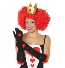 Gants long reine de coeur noir femme