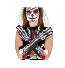Gants squelettes dia de los muertos avec fleurs adulte