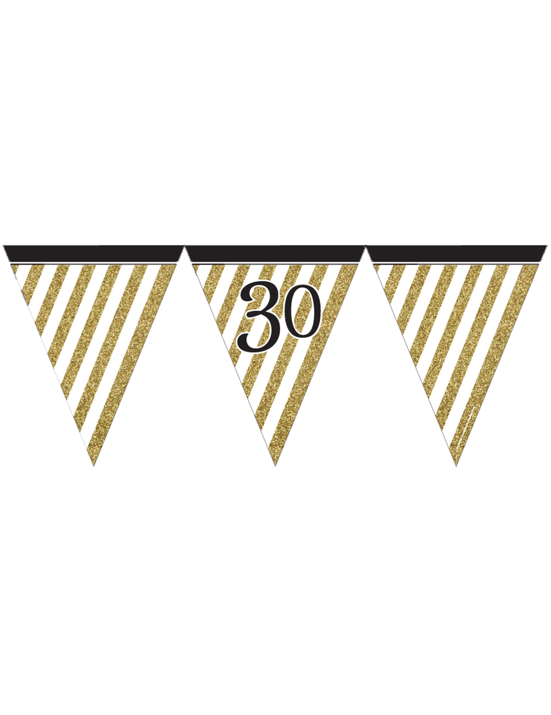 Guirlande à fanions noir et or 30 ans 3,7m