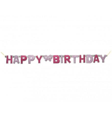 Guirlande articulée Happy birthday rose à paillettes