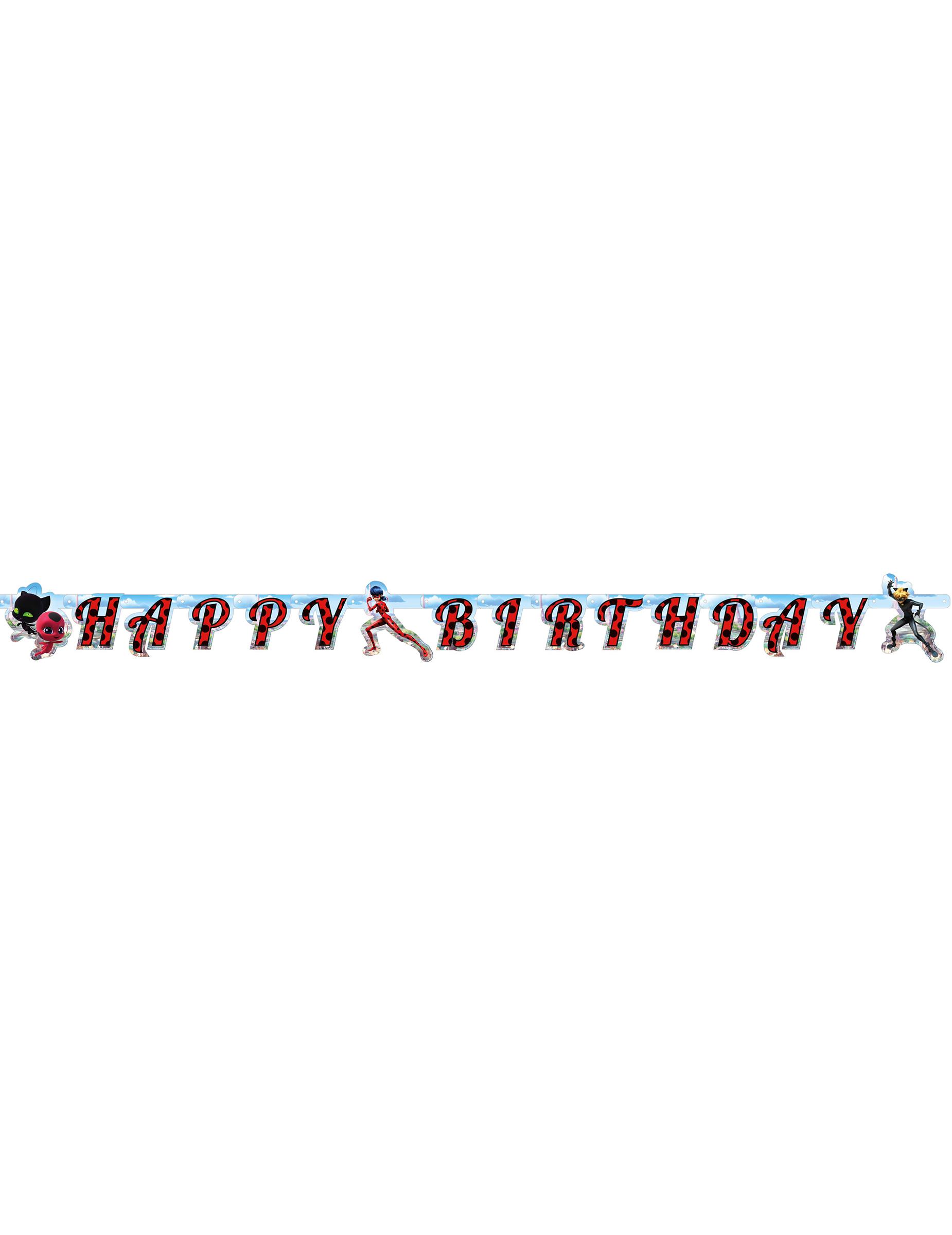 Guirlande en carton Happy Birthday Ladybug 2 m