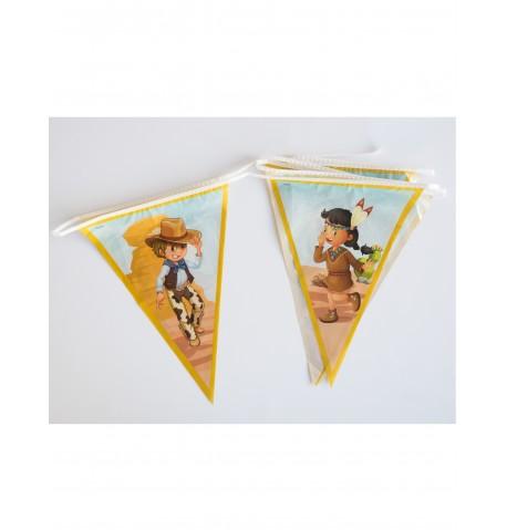 Guirlande fanions Cow-boy et Indien 270 cm