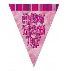 Guirlande Fanions rose Happy Birthday 2.74m