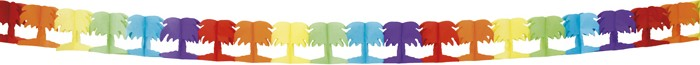 Guirlande mulitcolore papier palmier Hawaï 4 mètres