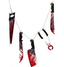 Guirlande outils ensanglantés 118 cm