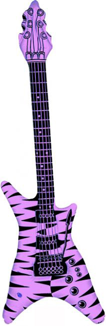 Guitare rock gonflable rose fluo