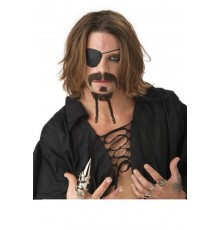 Kit de moustaches pirate brun adulte