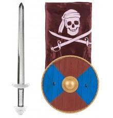 Kit Viking en plastique- épée bouclier et cape Enfant
