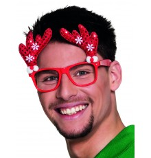 Lunettes rouge renne adulte Noël