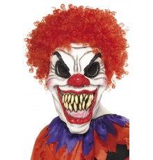 Masque clown cheveux rouges terrifiant adulte Halloween