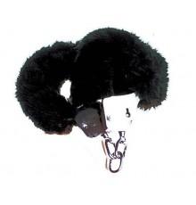 Menottes en fourrure noire adulte