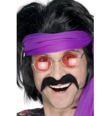 Moustache noire années 70' adulte