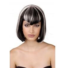 Perruque à frange noire et blanche femme