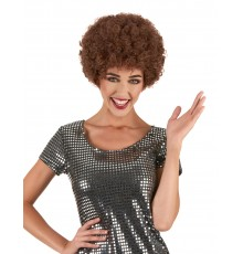 Perruque afro disco marron confort adulte