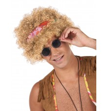 Perruque afro hippie blonde adulte