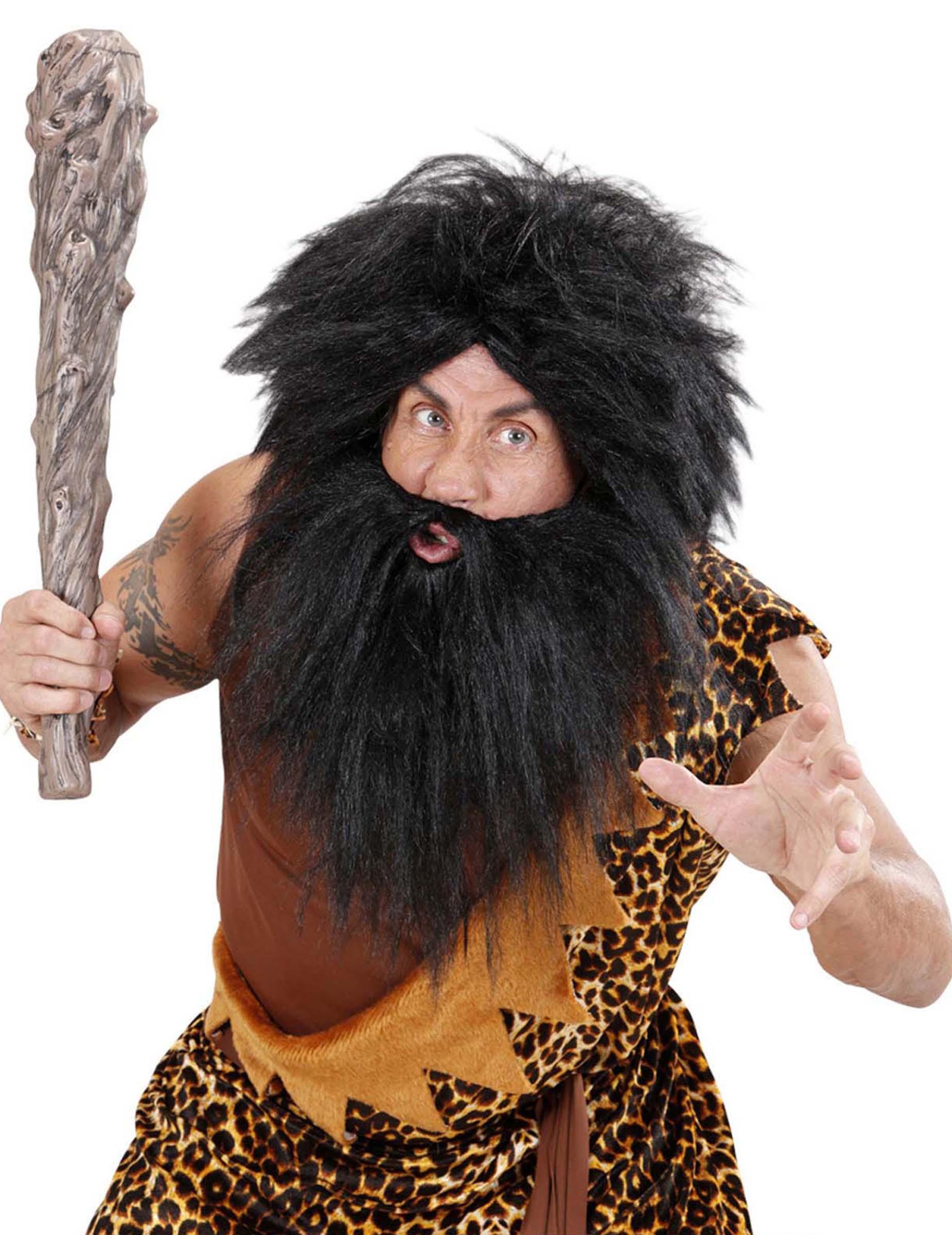 Perruque avec barbe noire adulte