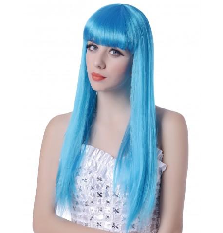 Perruque bleue longueà frange femme