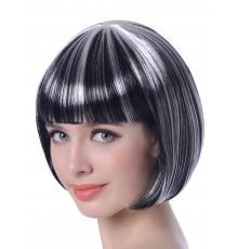 Perruque carré court mêchée noir et blanc femme