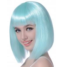 Perruque carré mi-long bleu ciel femme