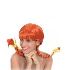 Perruque couettes rousse femme