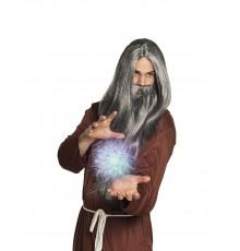 Perruque et barbe longue grise magicien homme