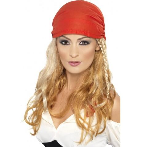 Perruque longue blonde pirate femme
