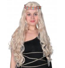 Perruque longue hippie blonde femme